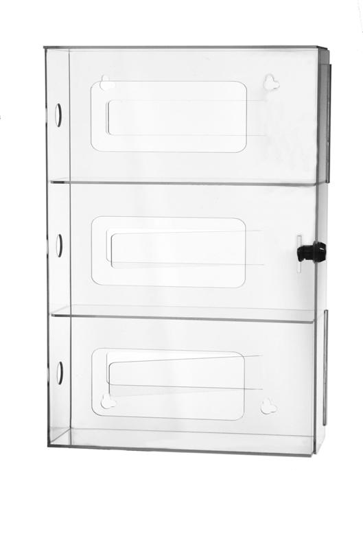 Three Box Glove Dispenser With Locking Door